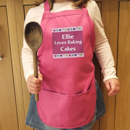 Personalised Hearts Childs Pink Apron